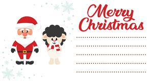 Cartoon christmas santa claus and сhristmas deer on the christmas letter to santa stock illustration