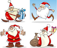 Cartoon Christmas Santa Clauses Set Stock Images