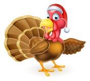 Cartoon Christmas Santa Hat Turkey Bird Pointing Stock Images