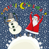 Cartoon christmas Santa and snowman Royalty Free Stock Photography