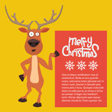 Cartoon Christmas Santas reindeer lean on and pointing at a sign stock illustration
