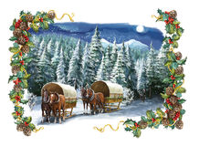 Cartoon christmas scene with horses and with frame. Beautiful and colorful illustration for the children Stock Photos