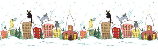 Free Cartoon Christmas Seamless Design With Cats In Silhouettes Sitting On The Top Of The Roof Watching Snowflakes Royalty Free Stock Photo - 101887955