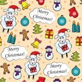 Cartoon Christmas seamless pattern stock illustration
