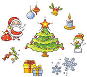 Cartoon Christmas set Royalty Free Stock Photos