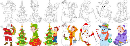 Cartoon christmas set Royalty Free Stock Images