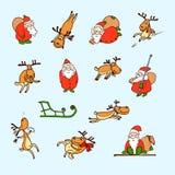 Cartoon Christmas set. Vector funny Santa Claus, reindeers Royalty Free Stock Photography