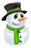 Cartoon Christmas Snowman. Happy cute cartoon Christmas Snowman character with hat and green scarf vector illustration