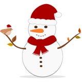 Cartoon Christmas snowman with bird holidays illustration Royalty Free Stock Photos