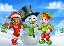 Cartoon Christmas Snowman and Elf Santas Helpers Stock Photography