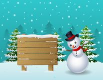 Cartoon christmas snowman with wooden sign and pine trees Stock Image