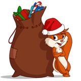 Cartoon christmas squirrel with bag of gift Stock Image