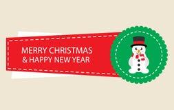 Cartoon christmas sticker with snowman. Vector image of a cartoon christmas sticker with snowman royalty free illustration