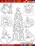 Cartoon Christmas Themes for Coloring Stock Images