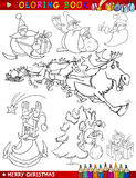 Cartoon Christmas Themes for Coloring. Coloring Book or Page Cartoon Illustration of Christmas Themes with Santa Claus or Papa Noel and Xmas Decorations and Royalty Free Stock Image