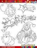 Cartoon Christmas Themes for Coloring Royalty Free Stock Images