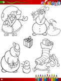 Cartoon christmas themes coloring page Stock Photo