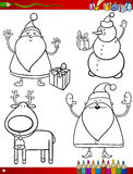 Cartoon christmas themes coloring page Royalty Free Stock Photos