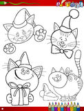 Cartoon christmas themes coloring page vector illustration