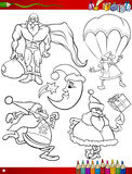 Cartoon christmas themes coloring page Royalty Free Stock Images