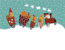 Cartoon Christmas train Stock Photo