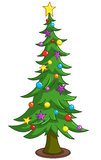 Cartoon Christmas tree. Decorated Christmas tree with decorations Stock Images