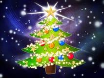 Cartoon Christmas tree background Stock Photos