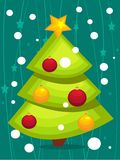 Cartoon Christmas tree card. Illustration Royalty Free Stock Photo