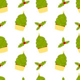 Cartoon christmas tree cupcake with mistletoe seamless pattern illustration Royalty Free Stock Photo
