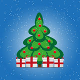 Cartoon christmas tree gift boxes Royalty Free Stock Photography
