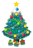 Cartoon christmas tree - isolated - for different usage. Happy and funny traditional scene for different usage - for different fary tales vector illustration
