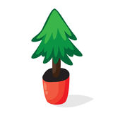 Cartoon Christmas tree in the pot. Flat vector illustration. Green fir isolated on white Stock Photos