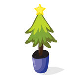 Cartoon Christmas tree in the pot. Flat vector illustration. Green fir isolated on white background Stock Photography