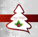 Cartoon Christmas Tree on silver card. Vector Royalty Free Stock Photos