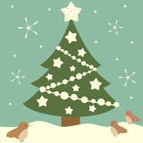 Cartoon christmas tree with white stars holiday background illustration Royalty Free Stock Image
