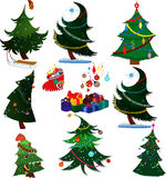 Cartoon Christmas trees with presents Royalty Free Stock Photography