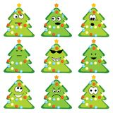 Cartoon christmas trees set Royalty Free Stock Photos