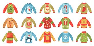Free Cartoon Christmas Ugly Sweaters. Xmas Holidays Party Jumper, Knitted Winter Sweater With Santa And Xmas Tree Isolated Royalty Free Stock Images - 157562669