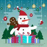 cartoon christmas and winter season stock illustration