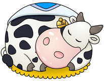 Cartoon chubby cow sleep. Royalty Free Stock Image