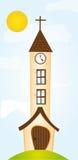 Cartoon church. Orange cartoon church over sky with sun background. vector Stock Photo