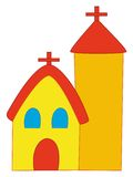 Cartoon church. Cartoon representation of a church stock photos