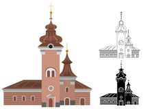 Cartoon church of catholic denomination decorated with cross line and shape art. Cartoon church of catholic denomination decorated with cross. Holy place with stock illustration