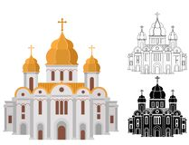 Cartoon church of christian denomination decorated with gold line and shape art. Cartoon church of christian denomination decorated with gold. Place for worship royalty free illustration