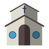 Cartoon church facade vector illustration cathedral exterior christianity architecture. Catholic europe tower landmark worship city medieval ancient famous Stock Images