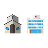 Cartoon church facade vector illustration cathedral exterior christianity architecture. Catholic europe tower landmark worship city medieval ancient famous Royalty Free Stock Images