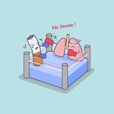 Cartoon cigarette boxing with lung Royalty Free Stock Images
