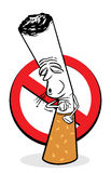 Cartoon cigarette coughs. No smoking sign Royalty Free Stock Image