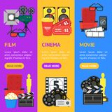Cartoon Cinema Color Banner Vecrtical Set. Vector Stock Images