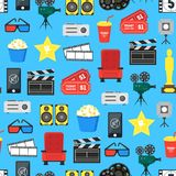 Cartoon Cinema Color Element Background Pattern on a Blue. Vector Royalty Free Stock Image